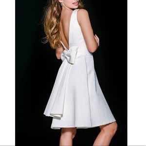 Ivory Bow Cocktail Dress Jovani